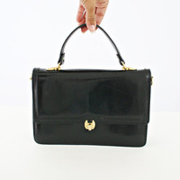 vintage 80s ITALIAN leather STRUCTURED top handle CROSSBODY bag