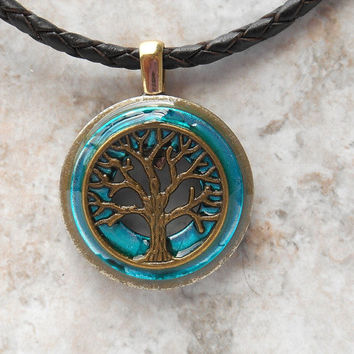 tree of life necklace: blue - tree necklace - mens necklace - leather cord - mens jewelry - unique jewelry - celtic jewelry - boyfriend gift