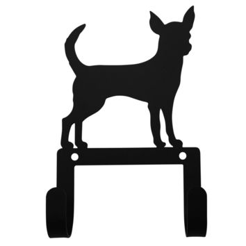 Wrought Iron Chihuahua Dog Leash & Collar Wall Hook