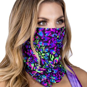 Midnight Disco Purple Blacklight Face Mask Bandana