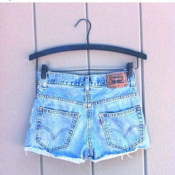 Levis High Waisted Distressed Destroyed Cut Off Denim Cheeky Jean Shorts - sizes 0-30 US Womens
