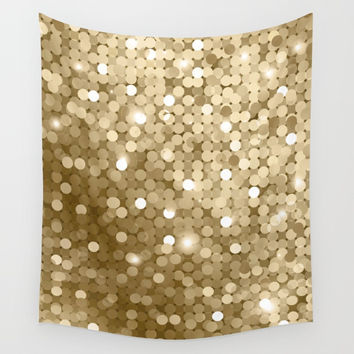Gold glitter texture Wall Tapestry by printapix