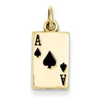 Enameled Ace of Spades Card Charm in 14k Gold