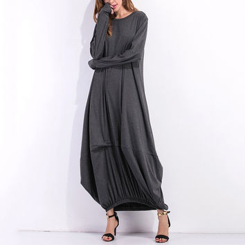 Women Long Sleeve Casual Plain Long Maxi Dress Vintage Kaftan Plus Size Full-Length Cotton Party Dresses