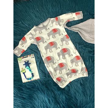 2019 Summer Kickee Pants Natural Indian Elephant  Layette Gown With Knot Hat