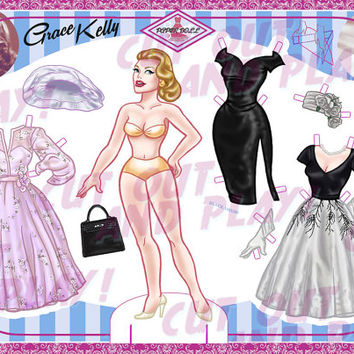 Printable Paper Dolls - Grace Kelly, paper doll with 7 dresses, printable toys, dress up doll, cutout, kids gift, A4 JPEG