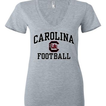 Official NCAA University of South Carolina Fighting Gamecocks USC COCKY SC Football Ladies Deep V-Neck - SC004