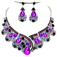 Purple Ab Rhinestone Crystal Statement Silver Chain Necklace Earrings Set Affordable Wedding Jewelry
