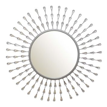 Posadas Silver Tear Drop Round Wall Mirror