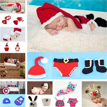 Retail Crochet Christmas Costume Hat&Diaper/Pants Set Newborn Baby Photo Props Toddler Santa Photography Props 1set  MZS-14032