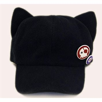 Evangelion EVA Asuka Langley Soryu Cat Ear Polar Fleece Cosplay Hat Sport Snapback Anime Neon Genesis action figure Plush