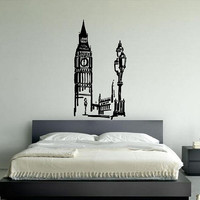 Wall Decor Art Vinyl Sticker Decals Mural Design Big Ben Clock London City 503