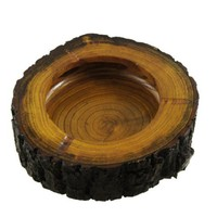 "6"" Dia Wooden Round Brown Black Ash Holder Smoke Cigarette Ashtray"