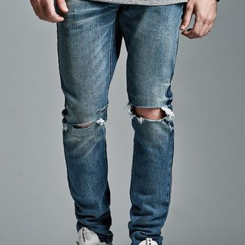 Bullhead Denim Co. Medium Ripped Stacked Skinny Jeans - Mens Jeans - Blue