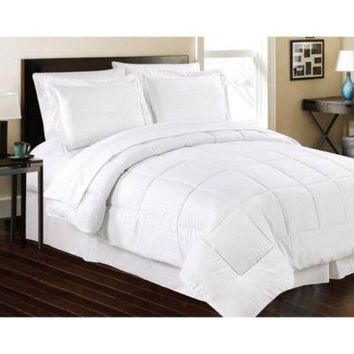 White Embossed 8 Piece Bed in a Bag, Comforter Sheet Set Bed Skirt Shams