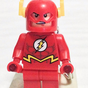 BOGO Buy 1 Get 1 Promo Lego® The FLASH Keychain, Justice League, Lego Superhero Keychain, FREE Lego® Minifigure Keychain Party Favor Gift