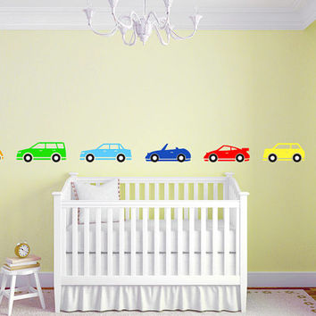 "Boys Car Border Nursery Room Vinyl Wall Decal Graphics Boys Baby Bedroom Home Decor 76""x5"""