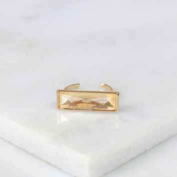 Rectangle Crystal Ring Champagne