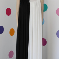 "Handmade Black and white long maxi chiffon dress/ prom dress / party dress / evening dress / cocktail dress ""Dream about me"""