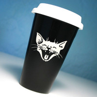 Ceramic Travel Mug - Laughing Cat - BLACK lolcat to-go coffee cup