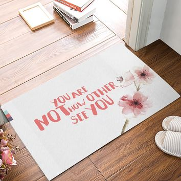 Autumn Fall welcome door mat doormat You Are Not How Other See You - Watercolor Peach Flower s Kitchen Floor Bath Entrance Rug Mat AT_76_7