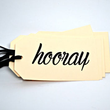 HOORAY Tags Set of 8, Party Favor Tags, Wedding Tags, Engagement Party Tags