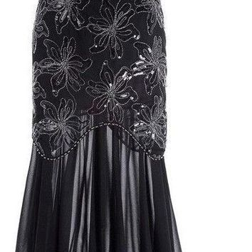 Cap Sleeve Evening Dress Sequins Mother of the Bride Dresses Long Gown Black Formal Dresses Party Evening Gowns