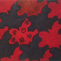 Tessellation oil painting, purple and red, origianl, varnished, 11x14
