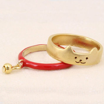 2 pcs New Fashion Gold Color Cut Cat Rings With Pendants Lovely Boho Metal Animal Party Finger Rings for Women Aneis Jewelry