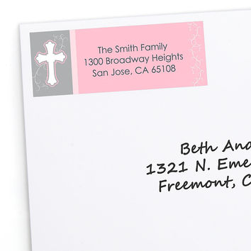 Little Miracle Girl Pink & Gray Cross - Personalized Baptism Return Address Labels - 30 ct