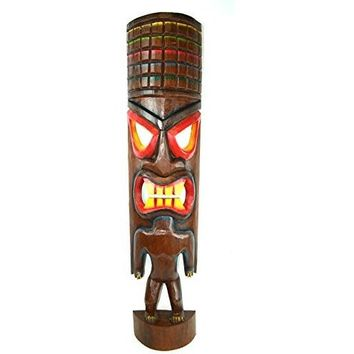 "Hand Carved Beautiful 3 Ft ""Warrior"" Tiki Totem Pole Mask Statue"