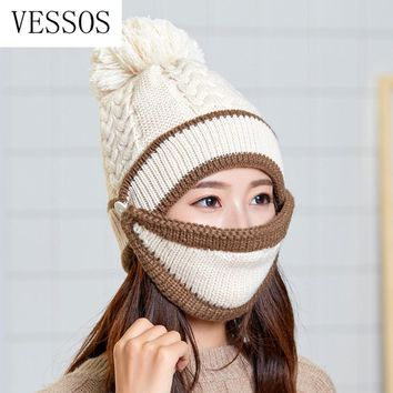 2pcs/Set Knitted Wool Mask Cap Set Fashion 2019 Knitted hat Plus Velvet Winter Hat Woman Warm Thicken Hedging Cap Ski Soft