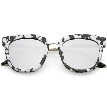 Women's Marble Print Horned Rim Mirrored Flat Lens Sunglasses C277