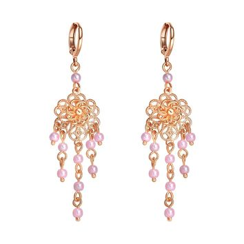 Amazing Long Blooming Lotus Flower Positive Powers Amulet Gold-Tone Pastel Pink Accents Earrings