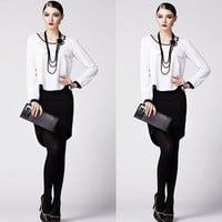White Long Sleeve Chiffon Blouse