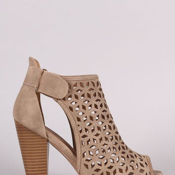 Perforated Slit Chunky Heel Booties