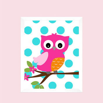 Hot Pink Orange Owl on Aqua Dots, Tree, Baby Nursery Art CUSTOMIZE YOUR COLORS 8x10 Prints, nursery decor nursery print art baby room decor