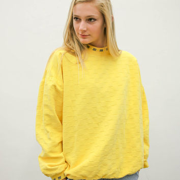 80s 90s yellow pullover sweater, vintage 1980s 1990s, long sleeve shirt, vaporwave top, ironic vtg tumblr, urban outfitters, soft grunge
