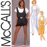 1980s Jumpsuit Pattern Uncut Bust 30 31 McCall's 9077 Comfy Casual Loose Fitting Sportswear Romper and Jumper Womens Vintage Sewing Patterns