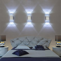 2Pcs/Lot 4W Led Wall Light Lamps Acrylic Crystal With Aluminum Case 8 Colors For Bedroom Bathroom Living Room Modern Decor Uw