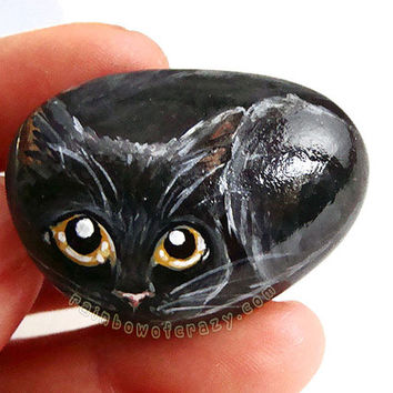 Black Cat Portrait, Painted Rock Art, Pet Stone, Cat Painting, Pet Memorial Gift, Yellow Eyes, Cat Loaf