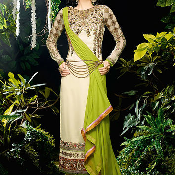 Off White and Green Embroidered Straight Cut Suit