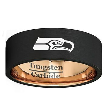 Customize Laser Seattle Seahawks Logo 8mm Black & Rose Gold Color Tungsten Wedding Band Comfort Fit  Rings Size 7-13