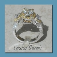 2 carat Diamond and Yellow Sapphire Ring with two tone filigree- LS408 | LaurieSarahDesigns - Wedding on ArtFire