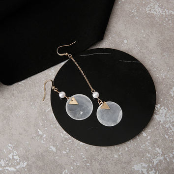 Lacs - Gold plated mother of pearl with triangular details drop earrings