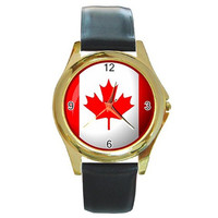 Canadian Flag Design on a Men or Women Gold Tone Watch with Leather Band