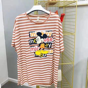 Woman Casual Fashion Letter Stripe Mickey Mouse Printing Loose Large Size Short Sleeve T-Shirt Tops