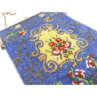 Antique Beaded Bag Purse Victorian Blue Red Roses Large