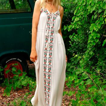Floral Mornings Embroidered Maxi Frosted Almond