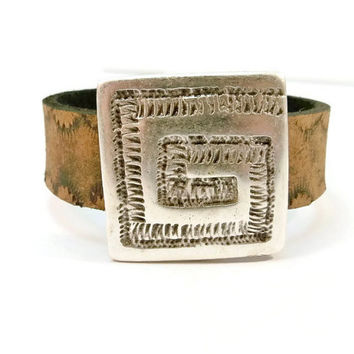 Leather and Silver Bracelet, Flat Tan Leather and Silver, Leather Cuff Bracelet, Magnetic Clasp, Gifts for Her, Christmas Gift